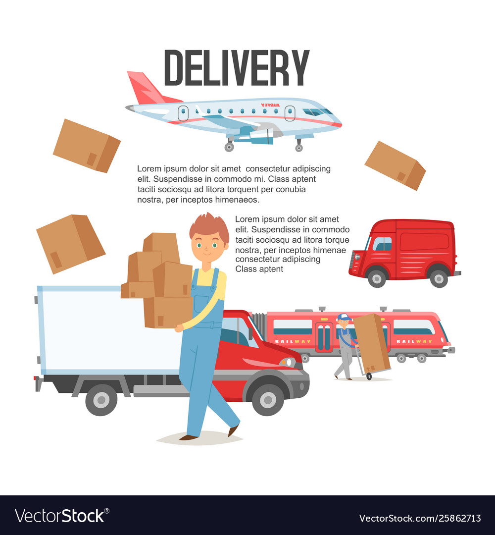 Delivery service background man holding boxes