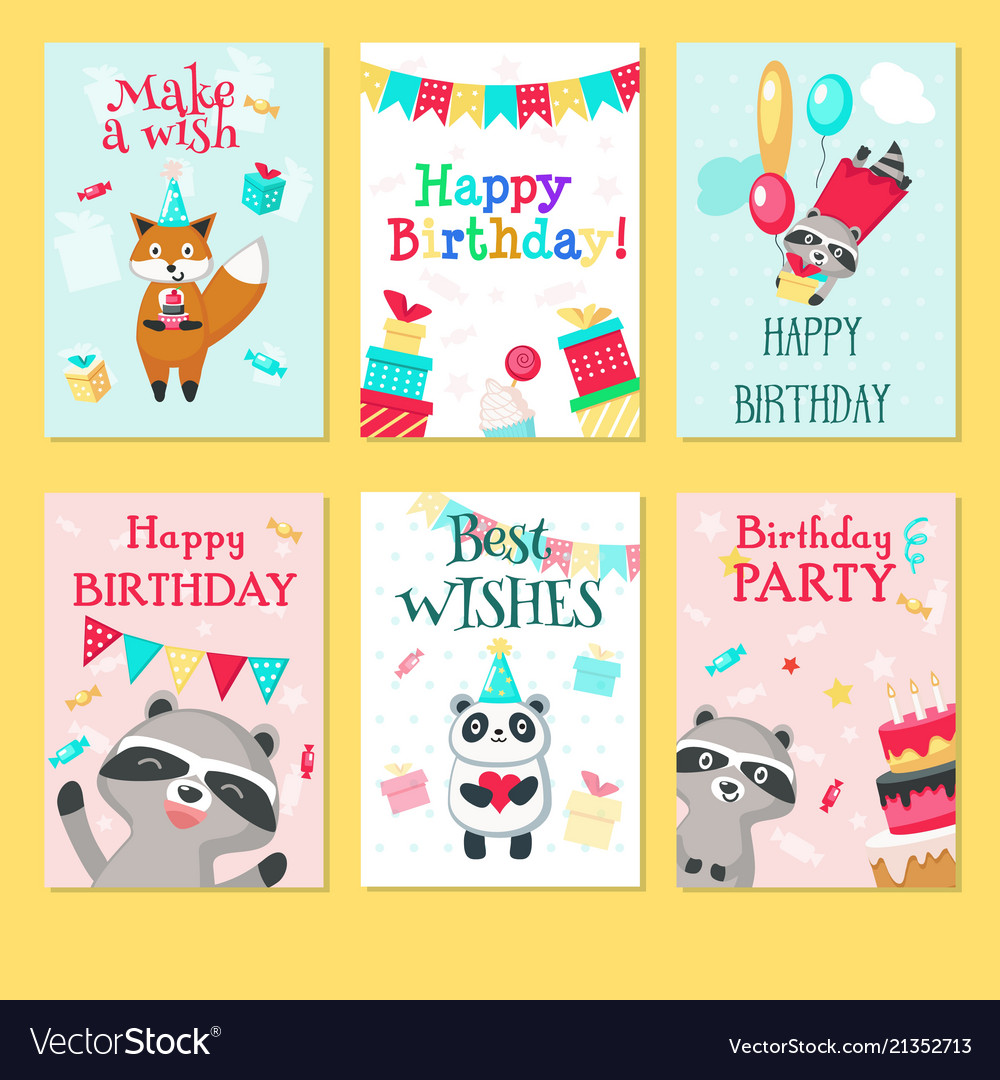 Happy birthday card template set