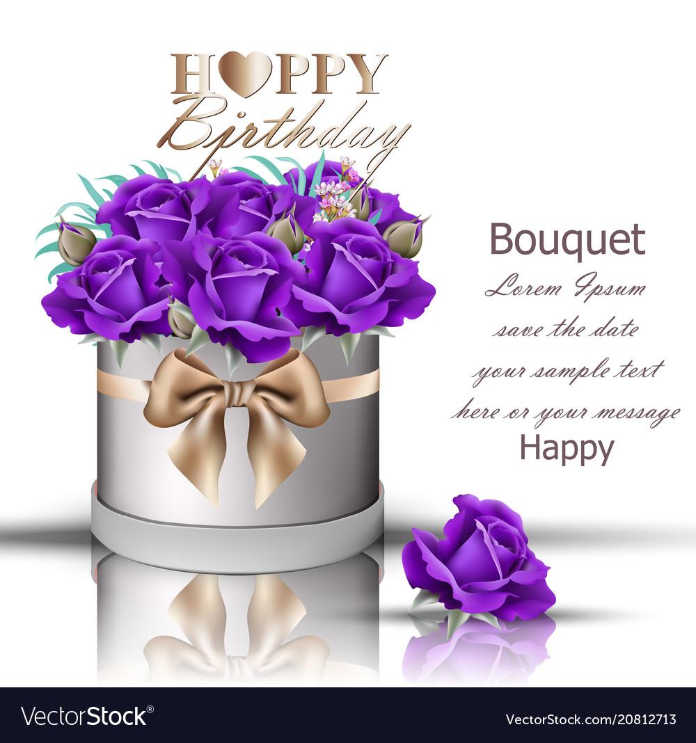 Happy Birthday Violet Roses Bouquet Vector Image