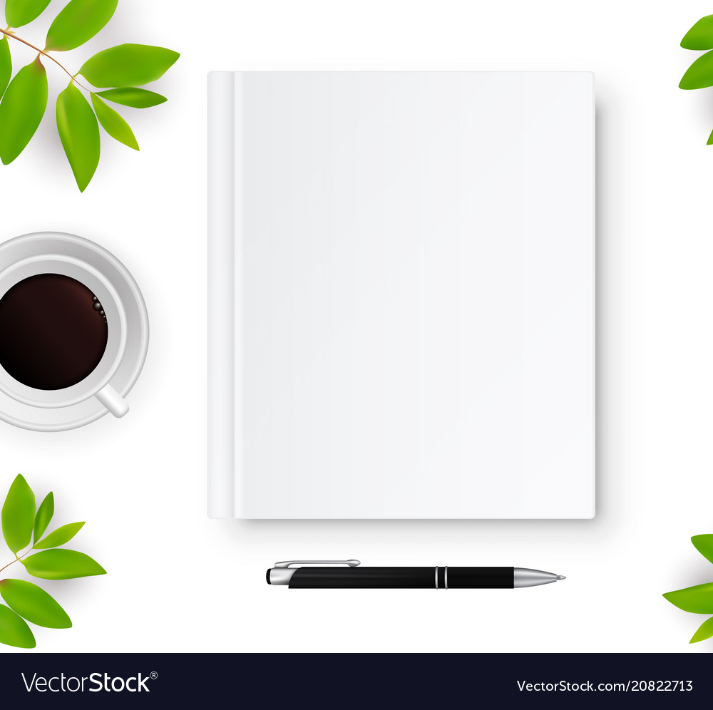 Notebook with white blank cover