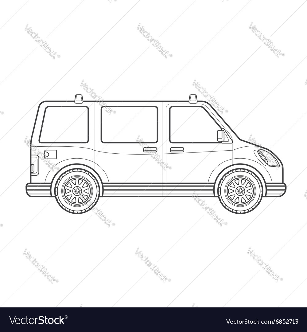 Outline van car body style icon