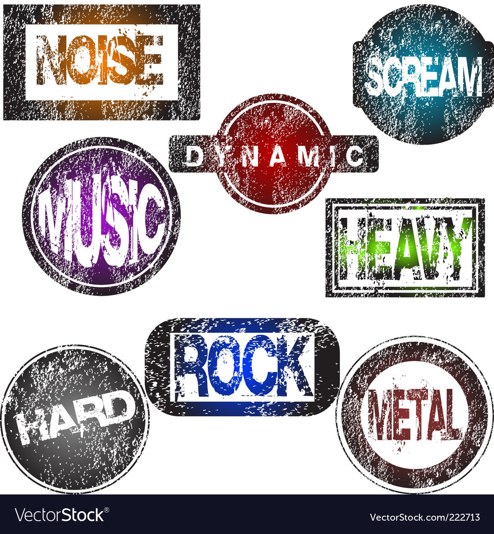 Rock music stamps vector image