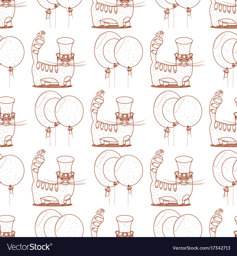Seamless pattern with cat in a top hat and Vector Image 559dc54f101