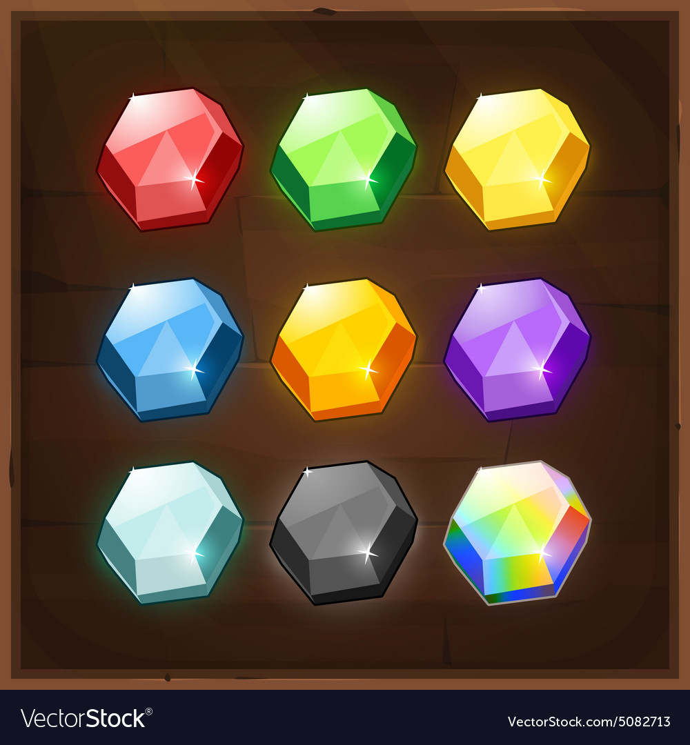 Set of Colorful Gems GUI elements vector