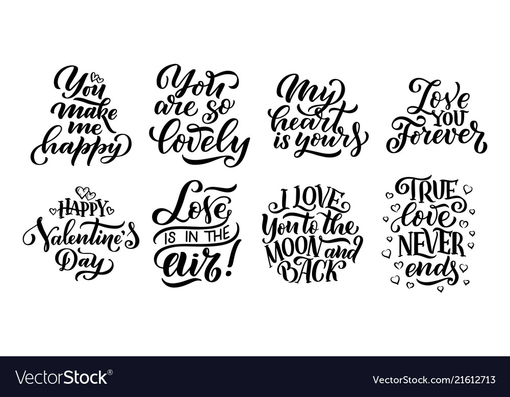 Set of lettering quotes about love hand drawn