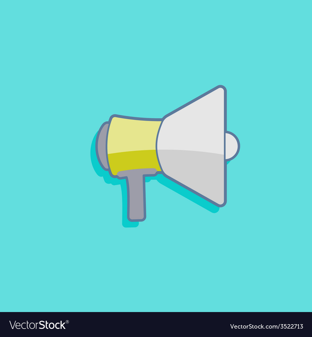 Simple with a megaphone loudspeaker icon flat