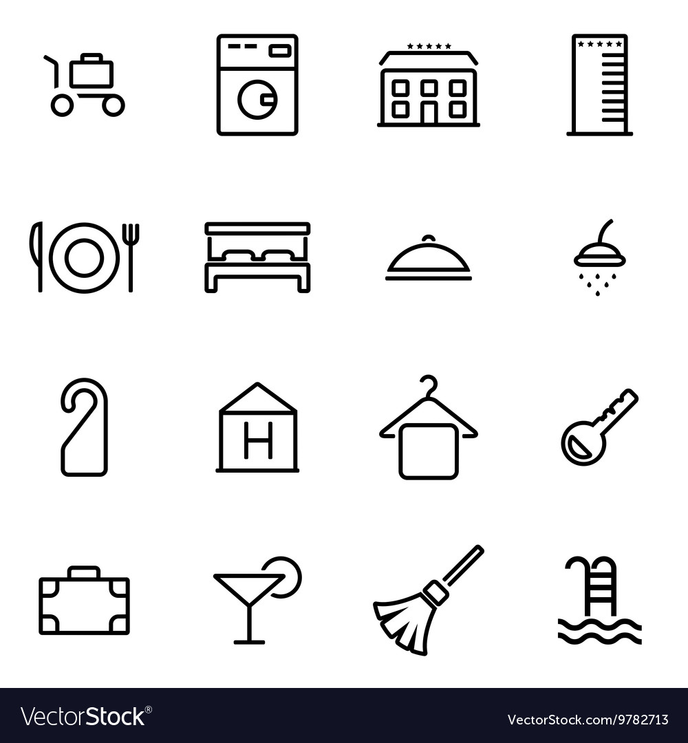 Thin line icons - hotel