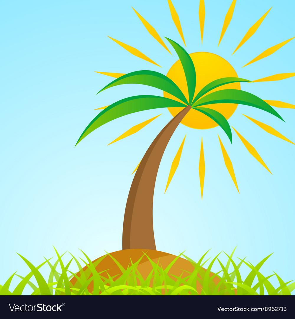 Tropical palm tree on island with shiny sun