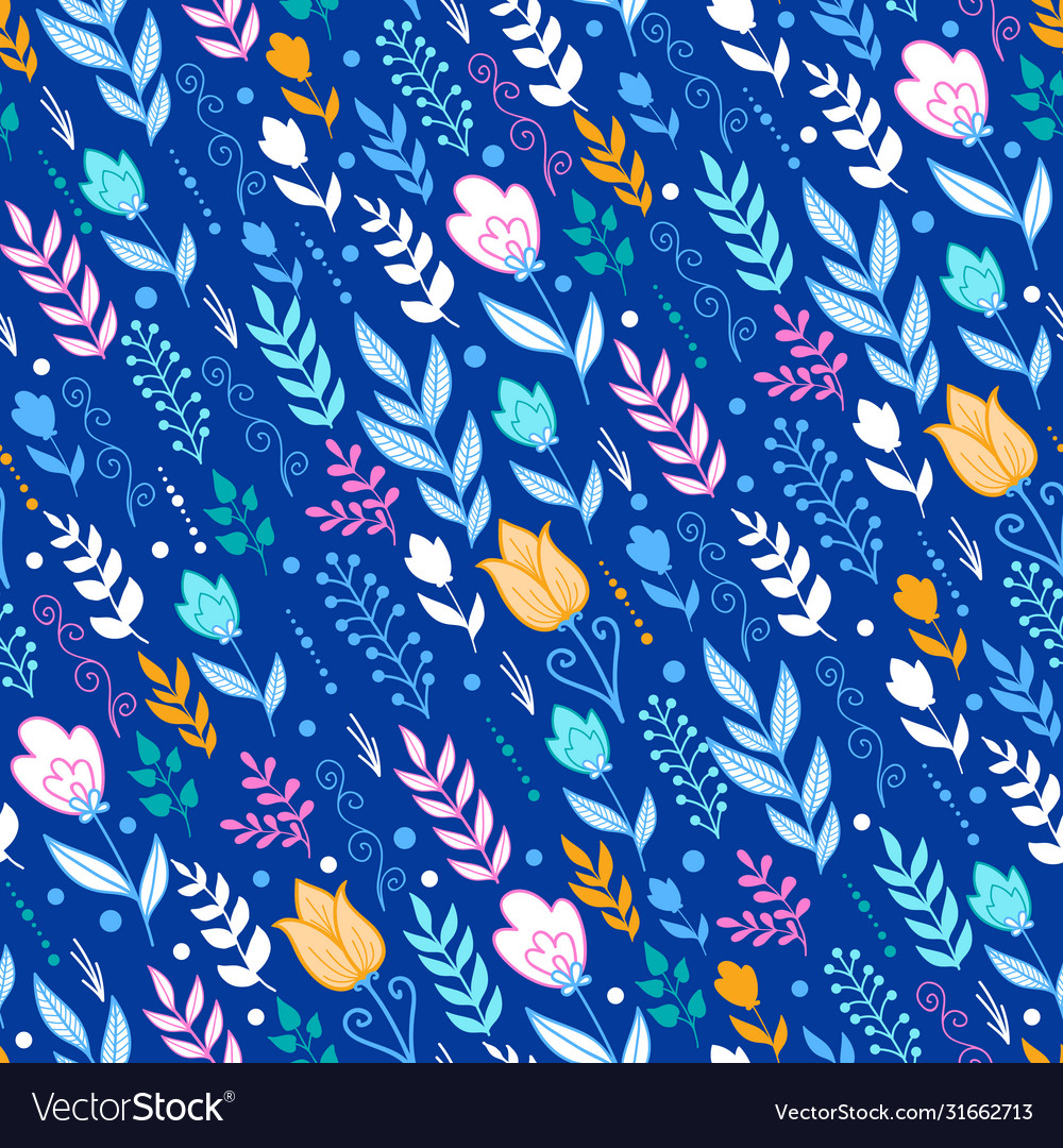 Windy field flowers and leaves seamless pattern