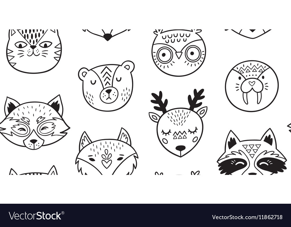 Black and white hand drawn doodle animals seamless