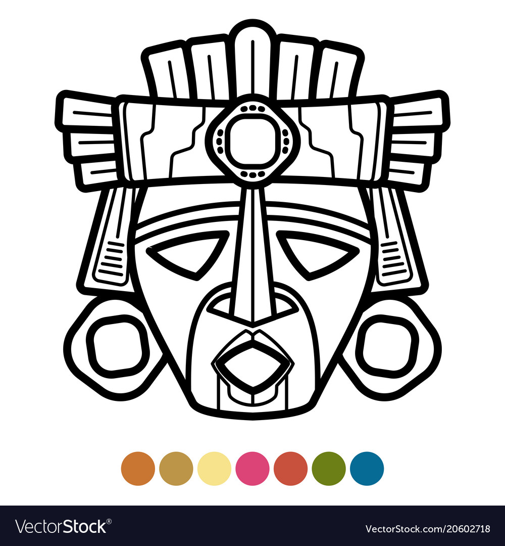 Coloring atzec african mexican mask vector image