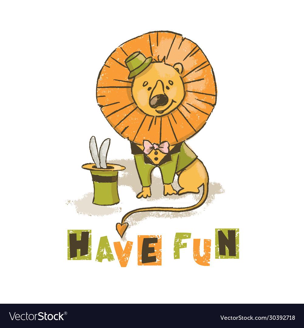 Fun lion cartoon circus savannah animal hand drawn