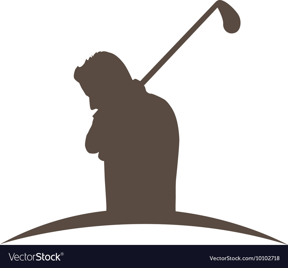 Golfer Silhouette Player Isolated Icon Royalty Free Vector