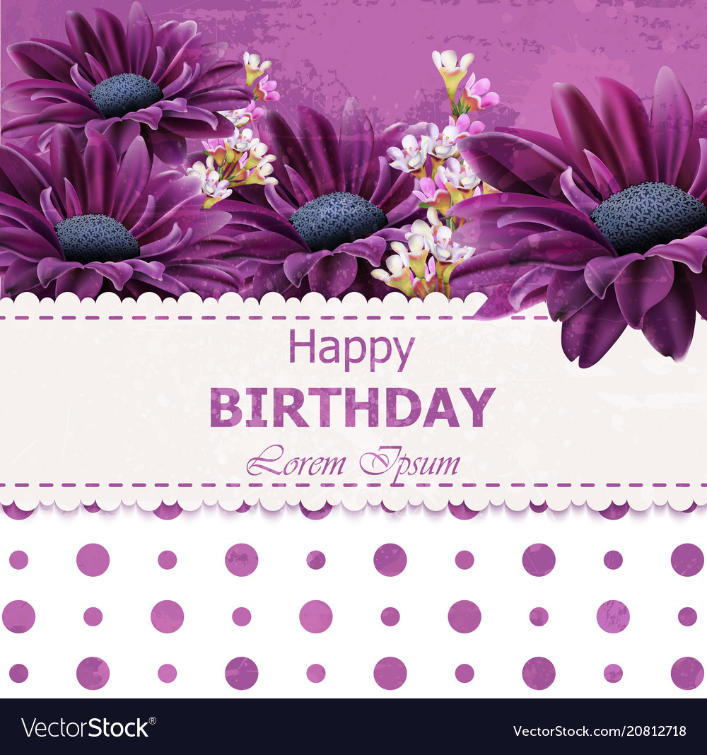 Happy birthday daisy flowers card floral vector image izmirmasajfo