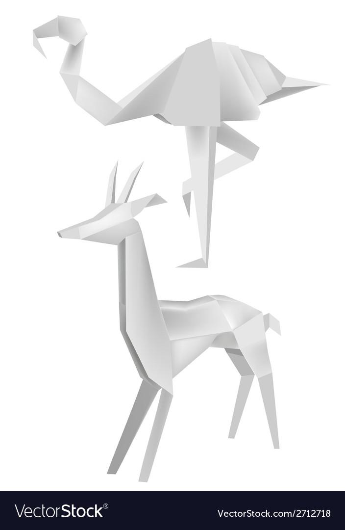 Origami flamingo roe vector image