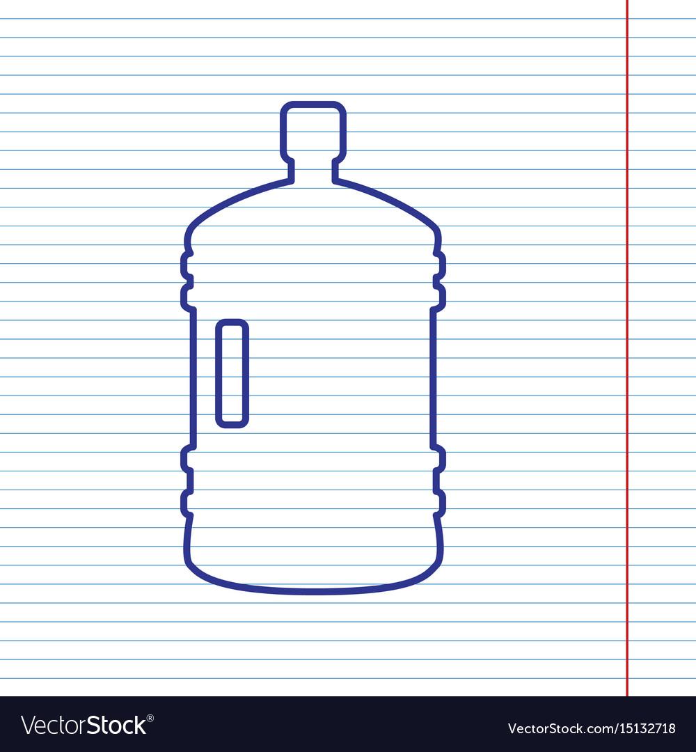 Plastic bottle silhouette sign navy line