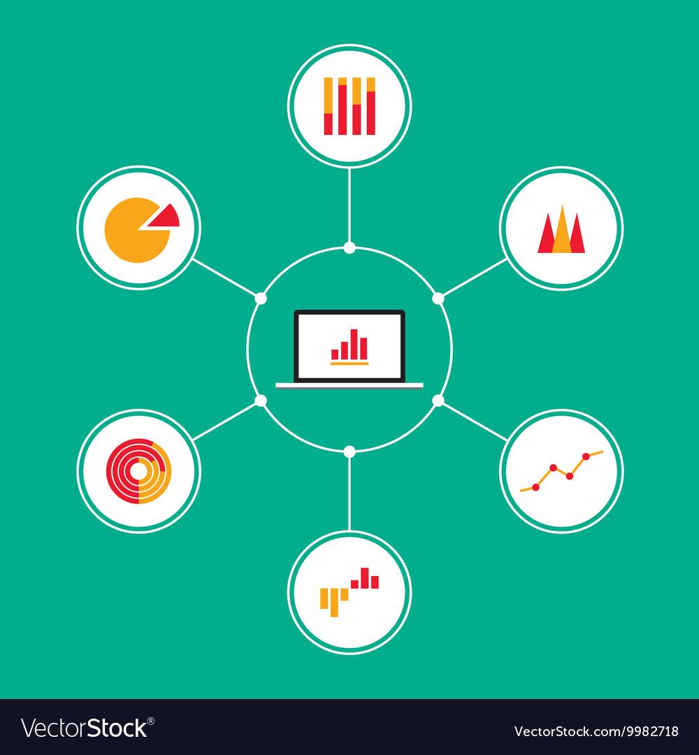 Set infographic business charts flat design