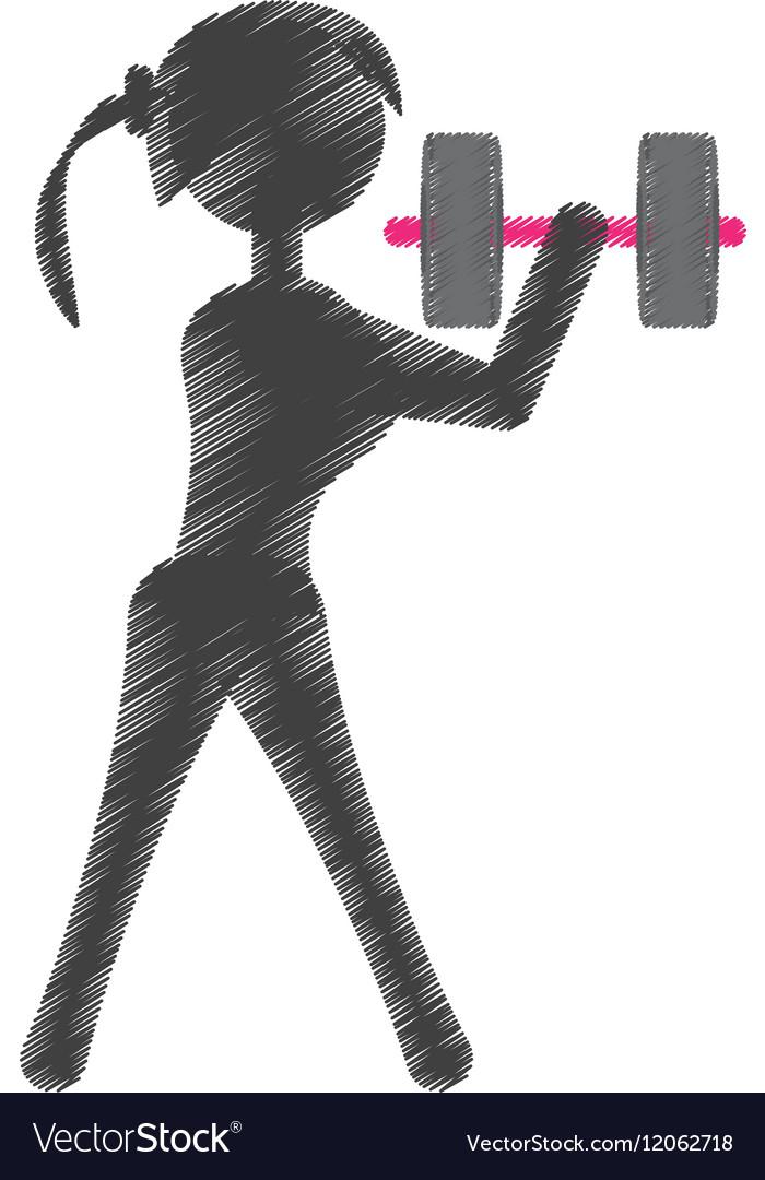 Silhouette girl dumbbell fitness