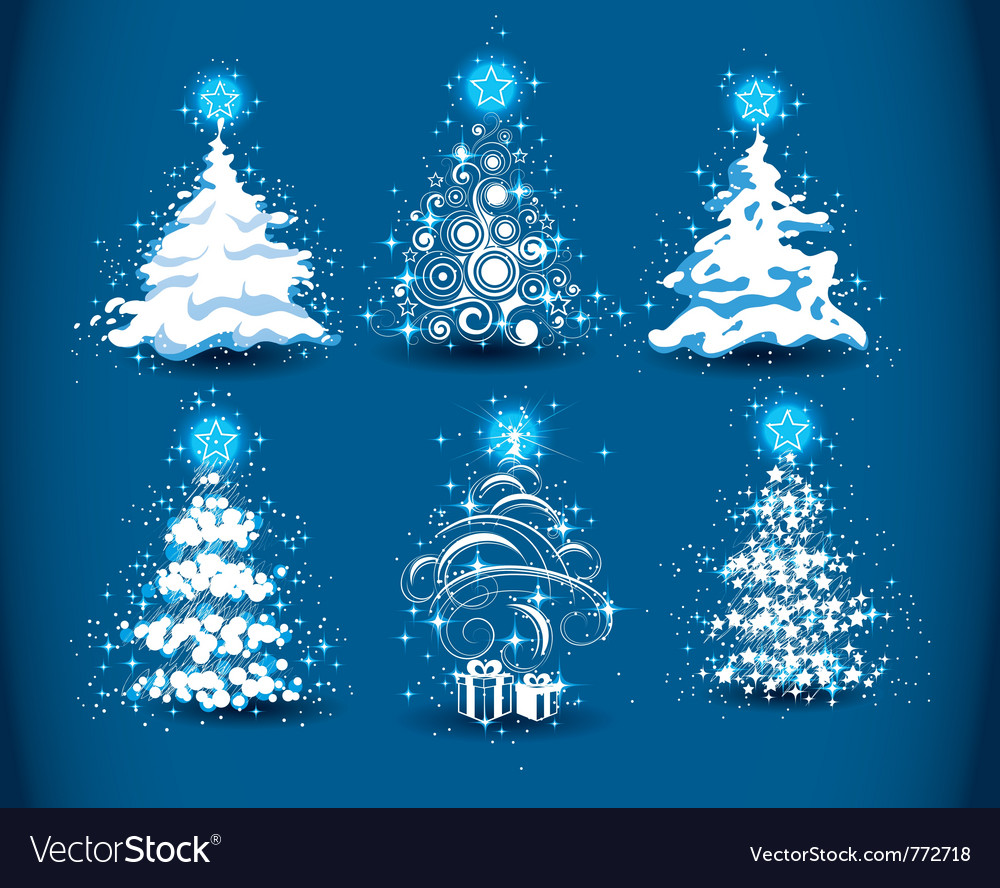 Snowy Christmas Tree.Snowy Christmas Trees