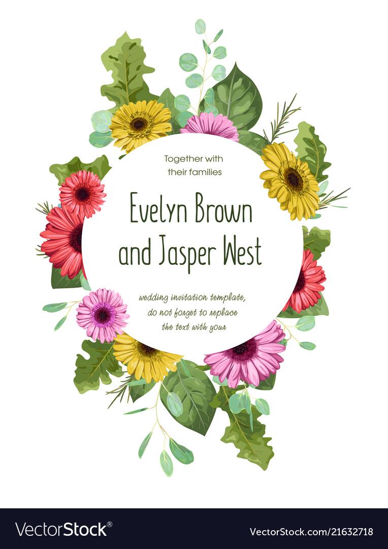 Summer Wreath Round Frame For Wedding Invitation Vector Image