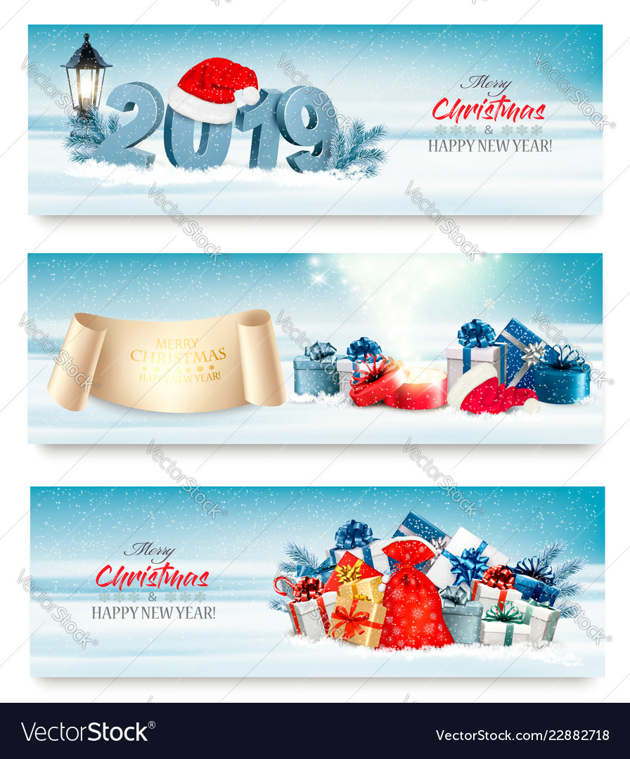 Three holiday christmas banners with 2019