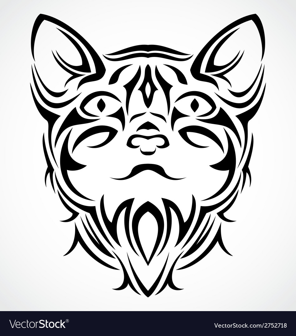 Tribal Cat Face vector image