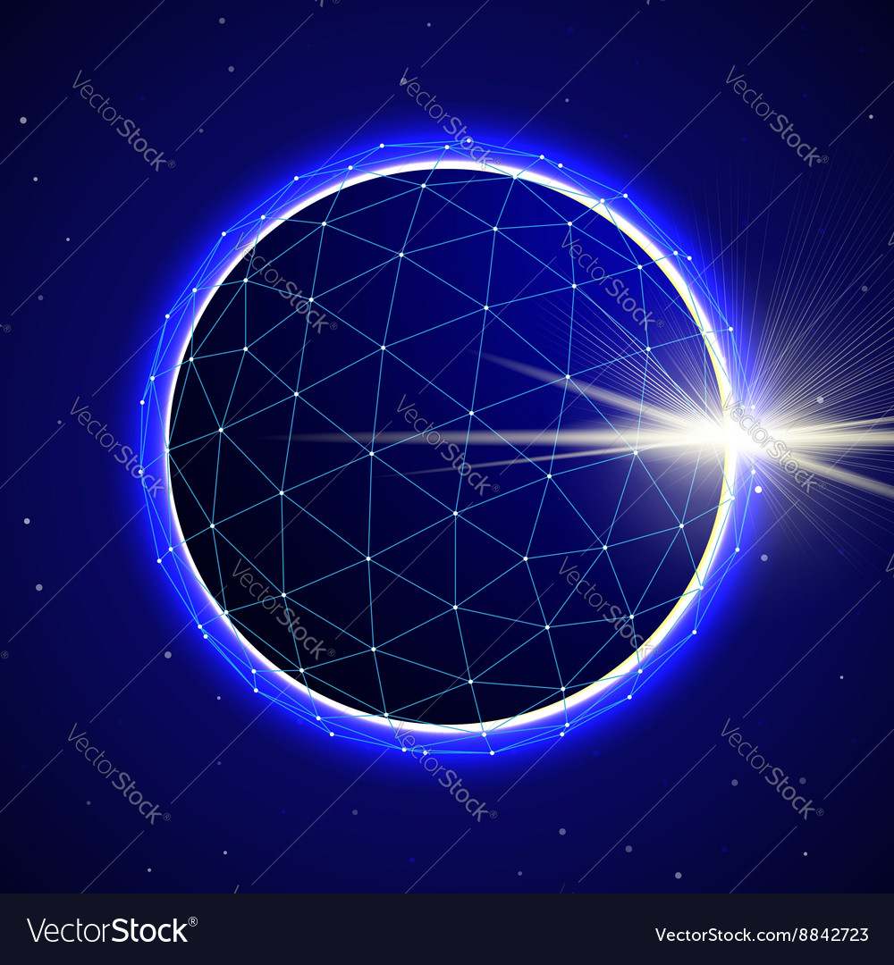 Abstract Sphere in Space with Eclipse vector image