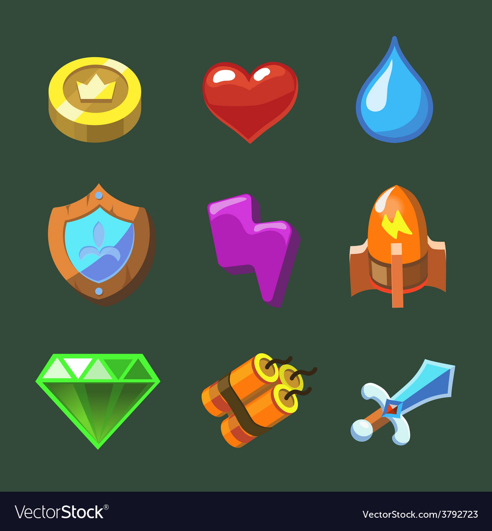 Cartoon icons set for game