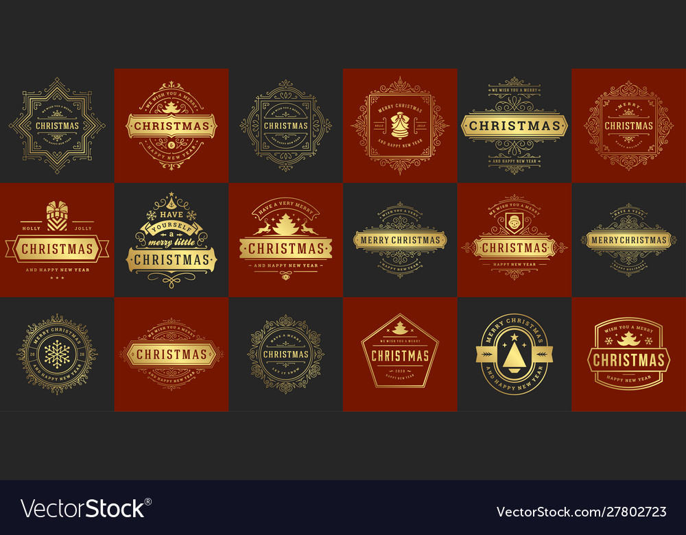 Christmas typography ornate labels and