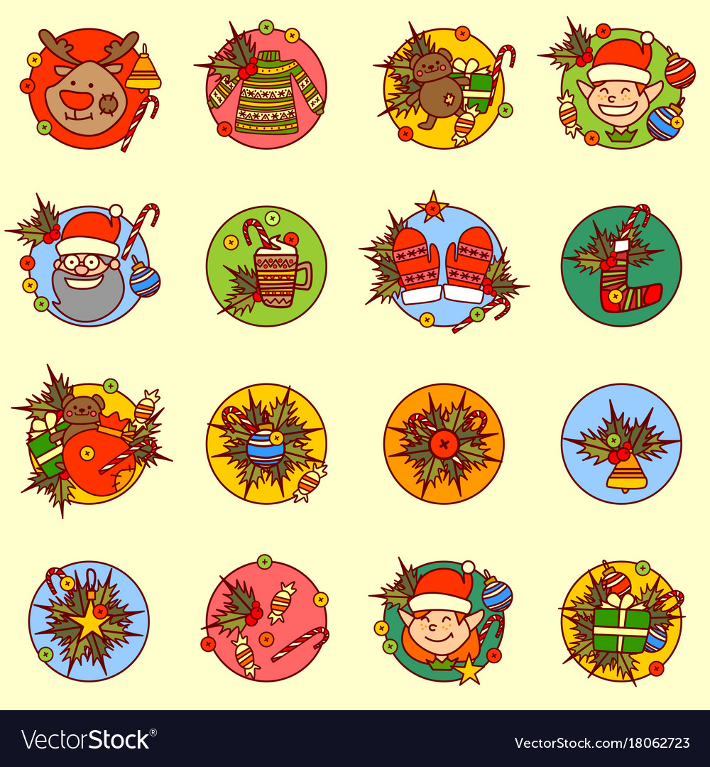 Cute new year icons set merry christmas concept