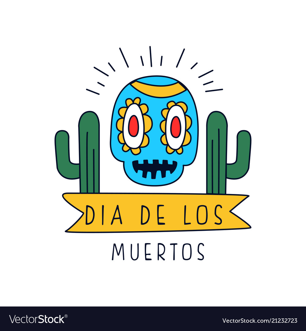 Dia de los muertos logo traditional mexican day
