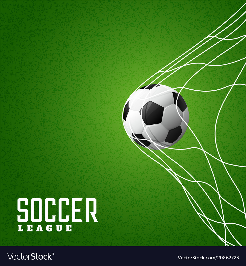 Football hitting goal net background vector image