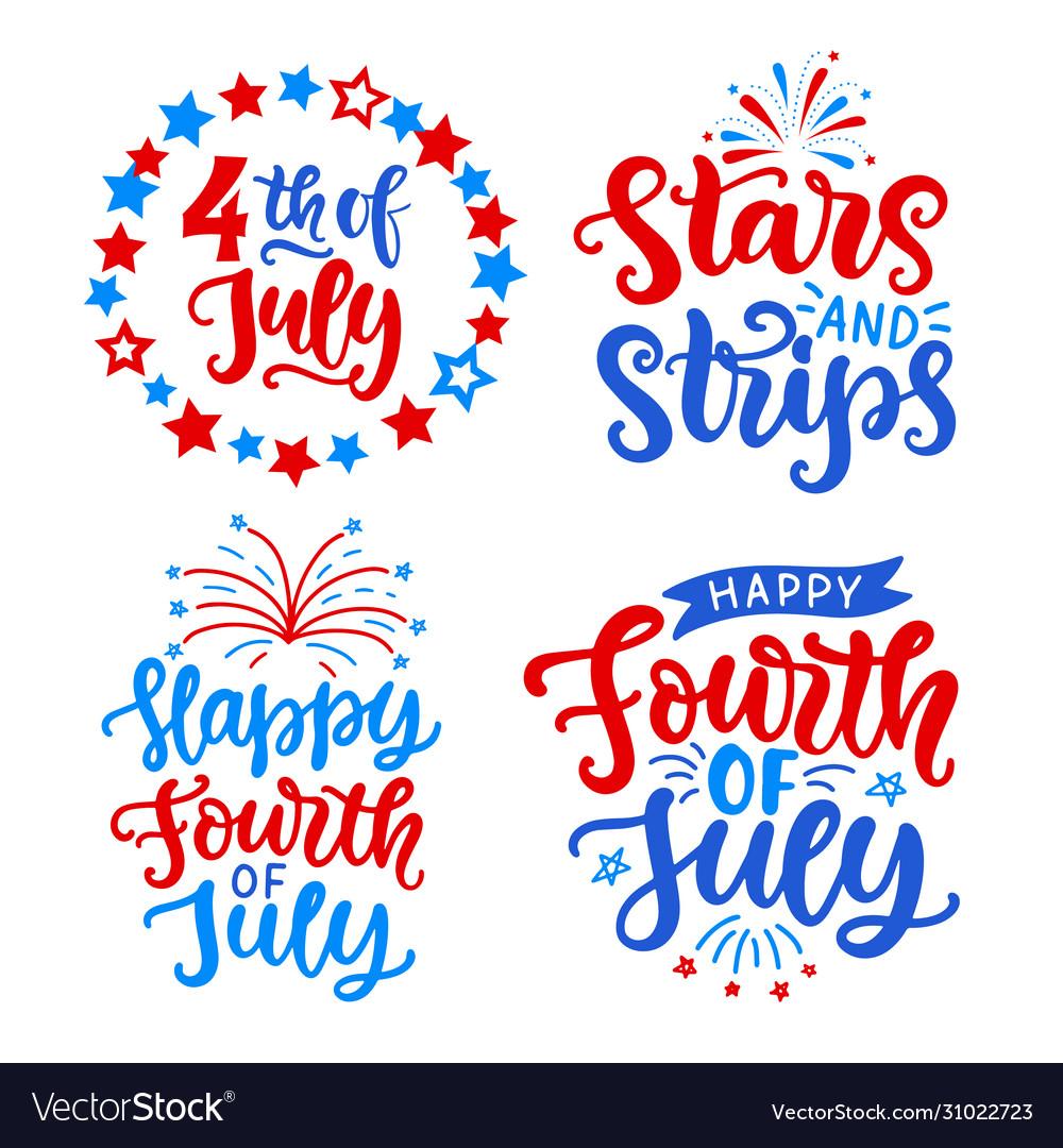 Happy fourth july hand written lettering set