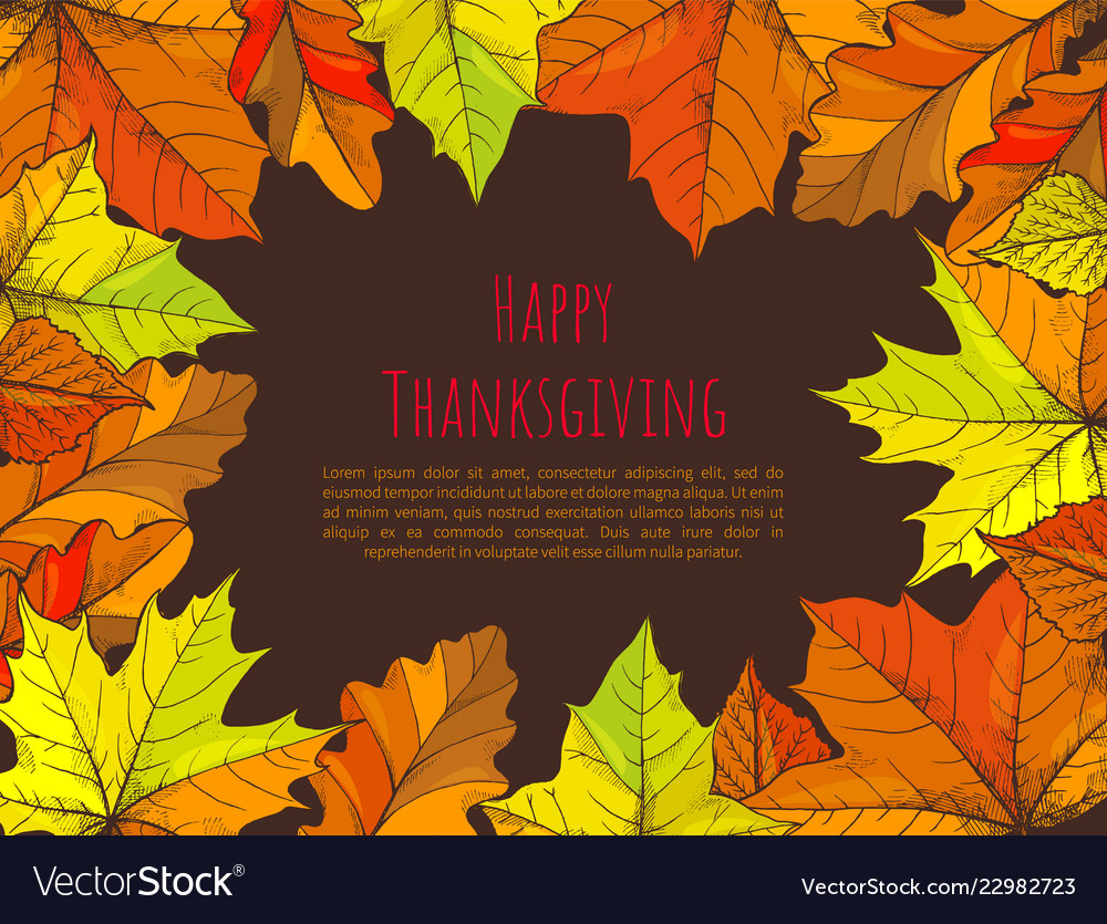 Happy thanksgiving poster with text leaves