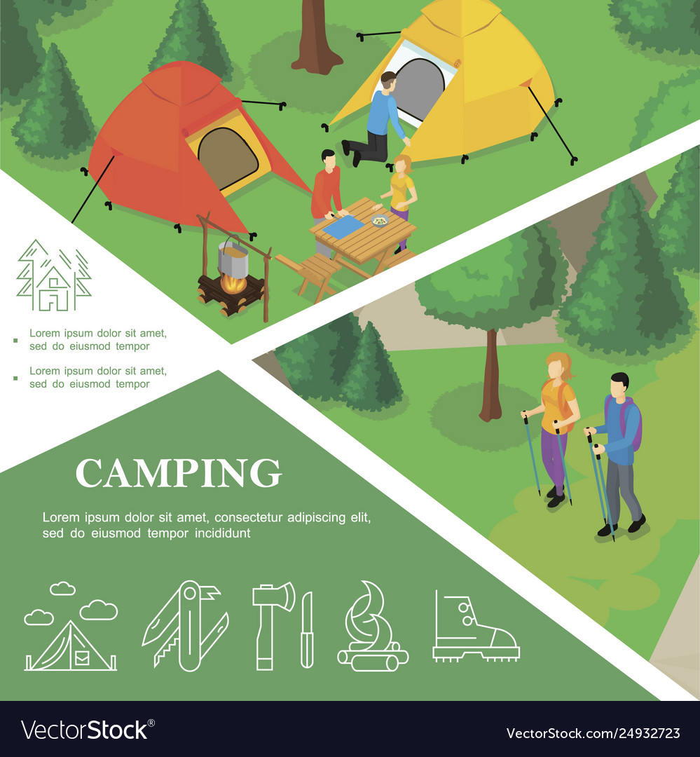 Isometric outdoor recreation colorful template