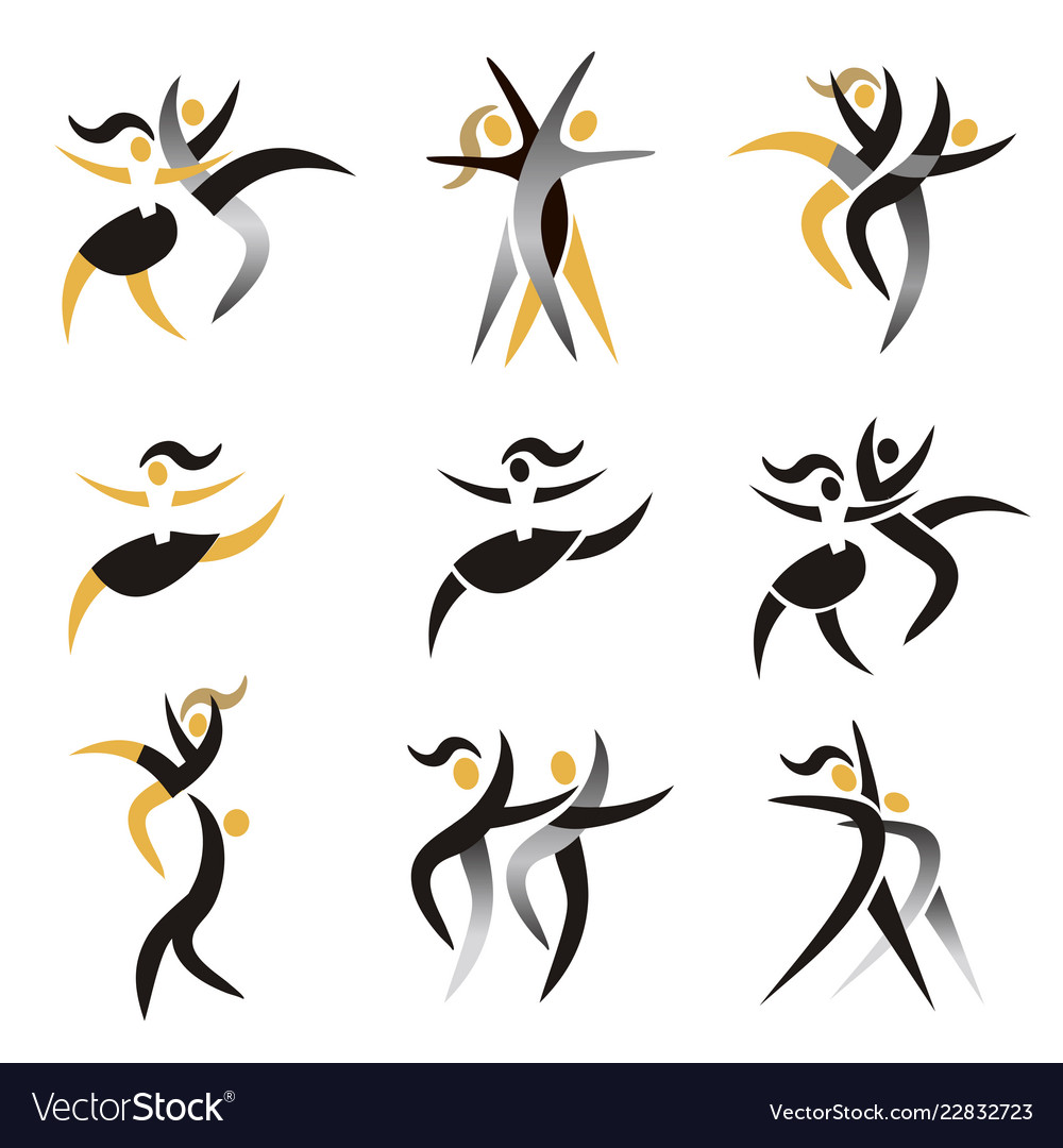Modern dancing expresiv stylized icons