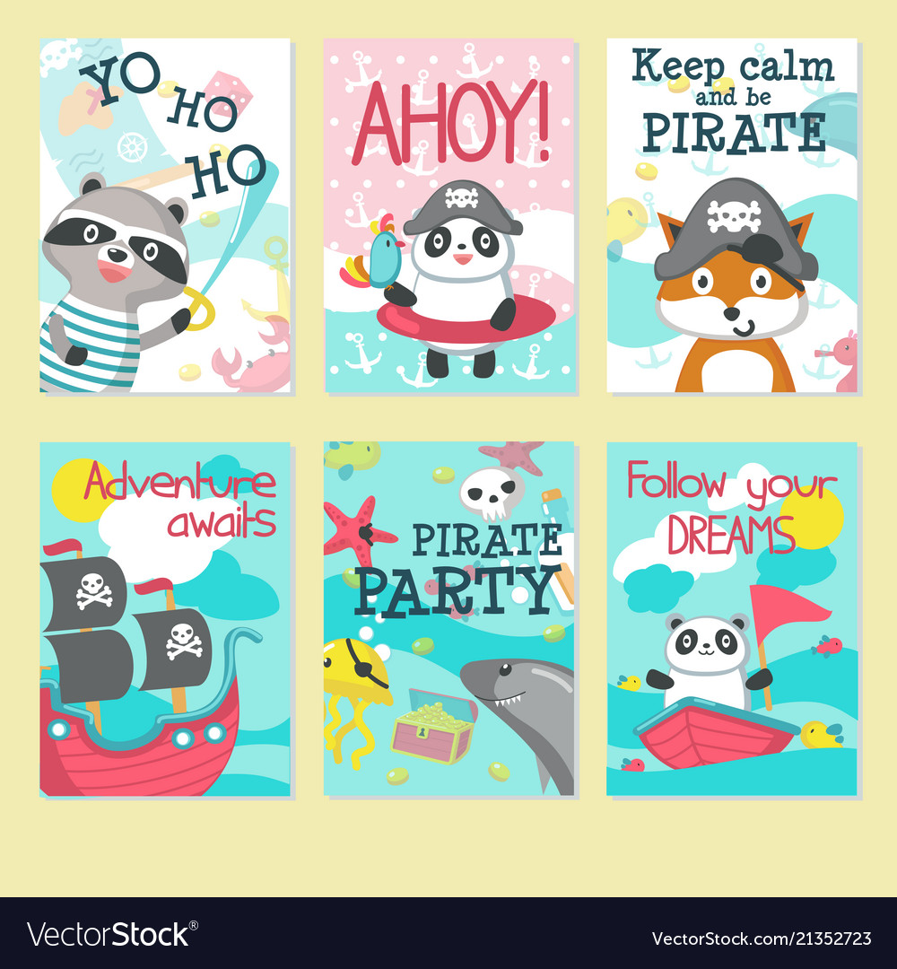 pirate party invitation card template set vector image