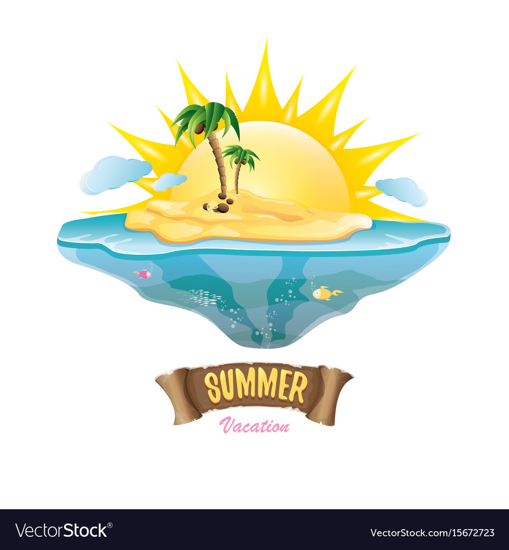 Summer label with island tropical beach