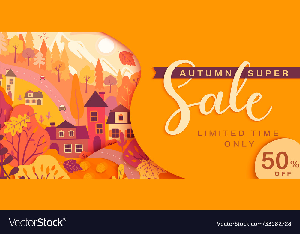 Autumn sale card with fall countryside landscape