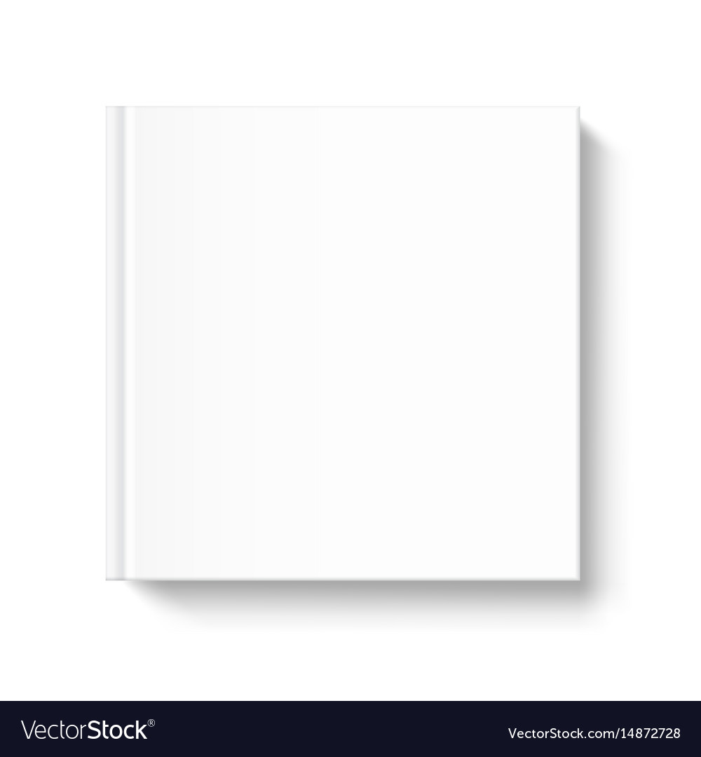 blank square book cover template on white vector image