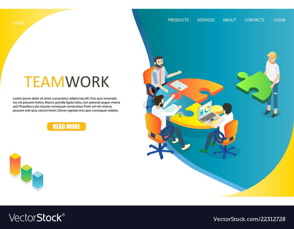 Business teamwork landing page website
