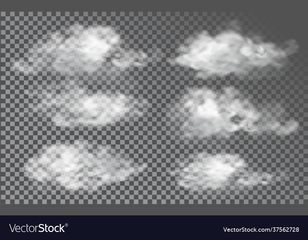 Cloud in realistic style on transparent background