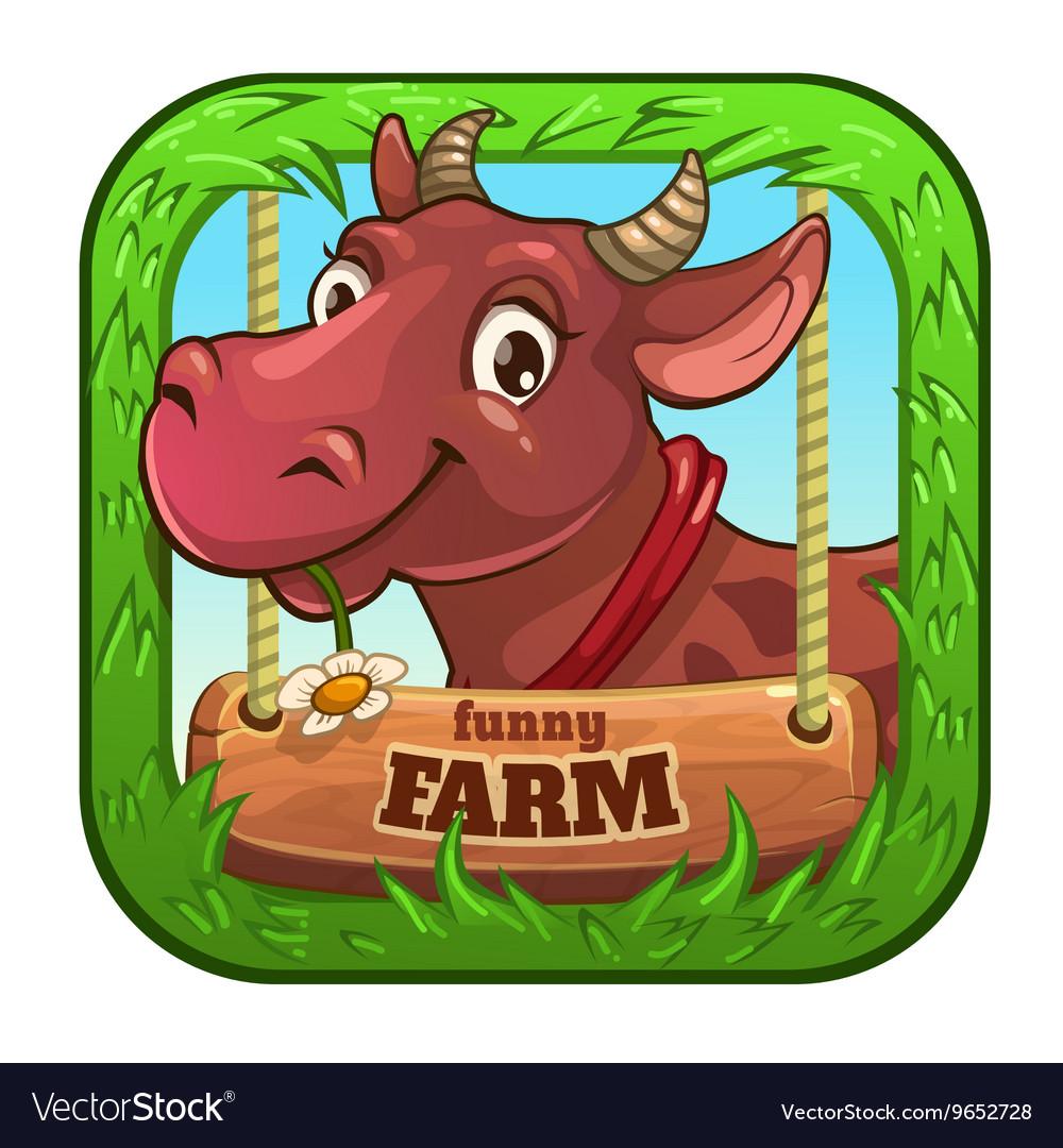 Funny App Icon With Cute Cartoon Cow Vector Image