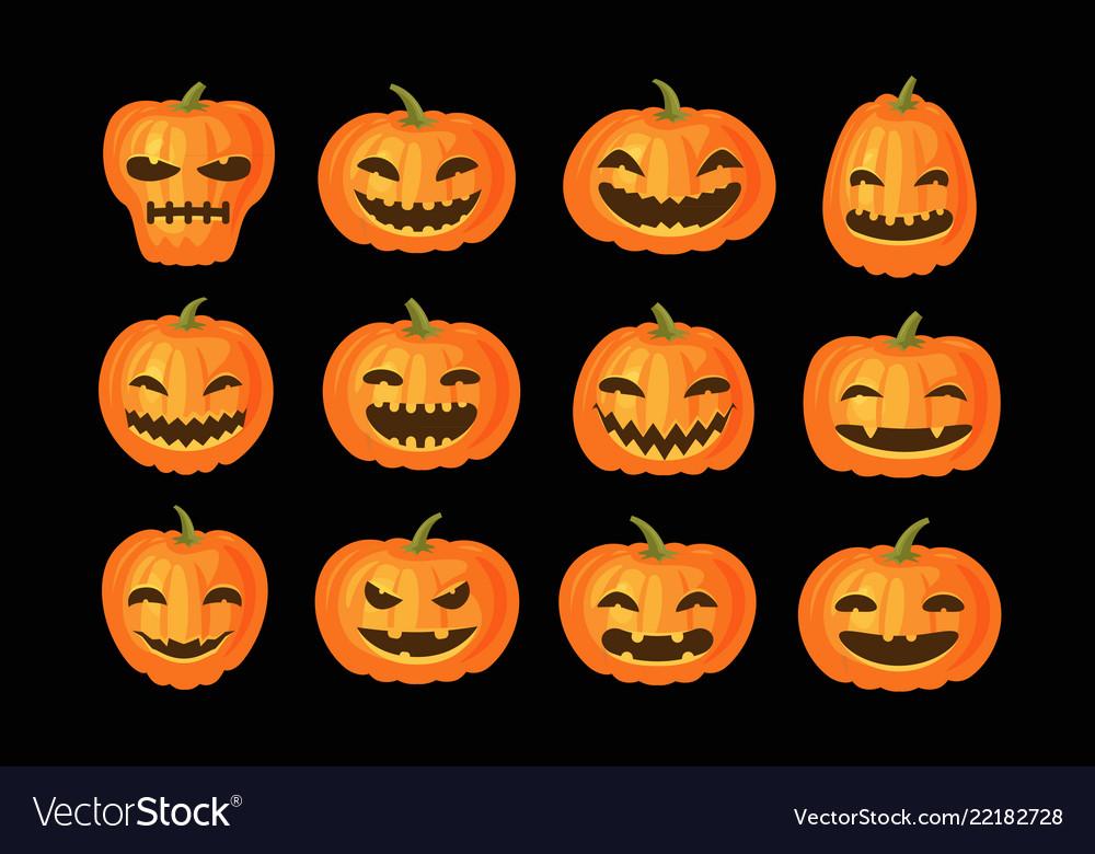 Funny pumpkins set halloween symbol cartoon