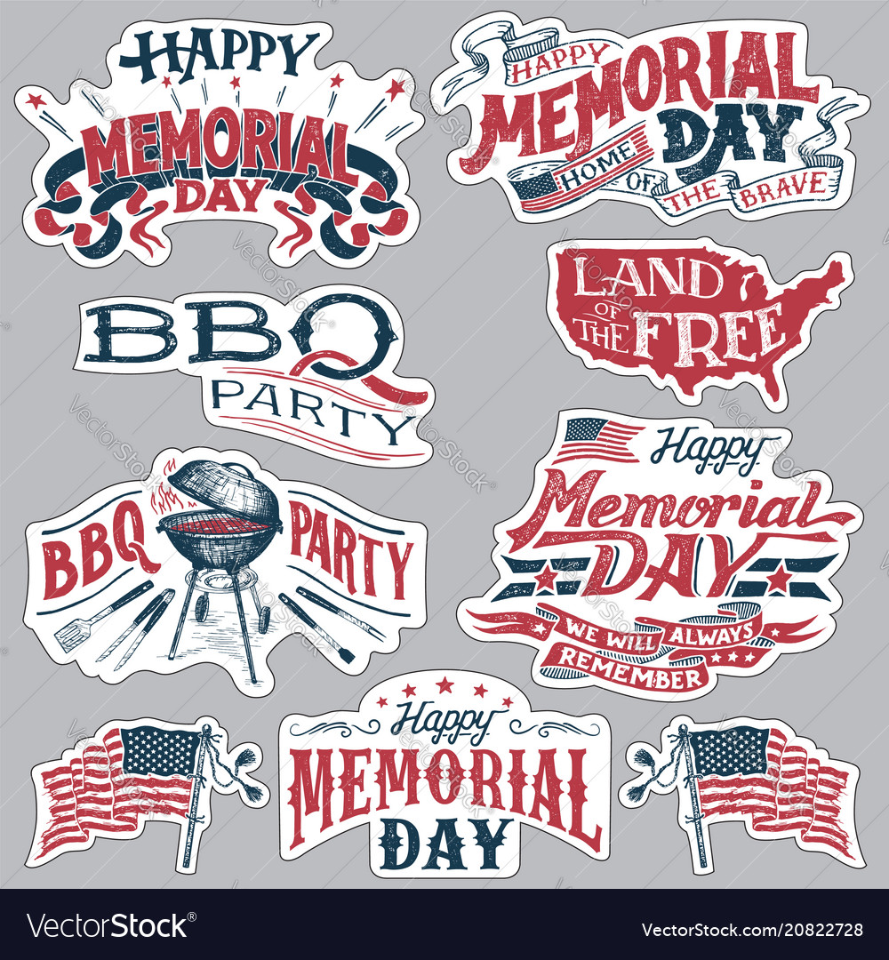 Happy memorial day barbecue party labels set