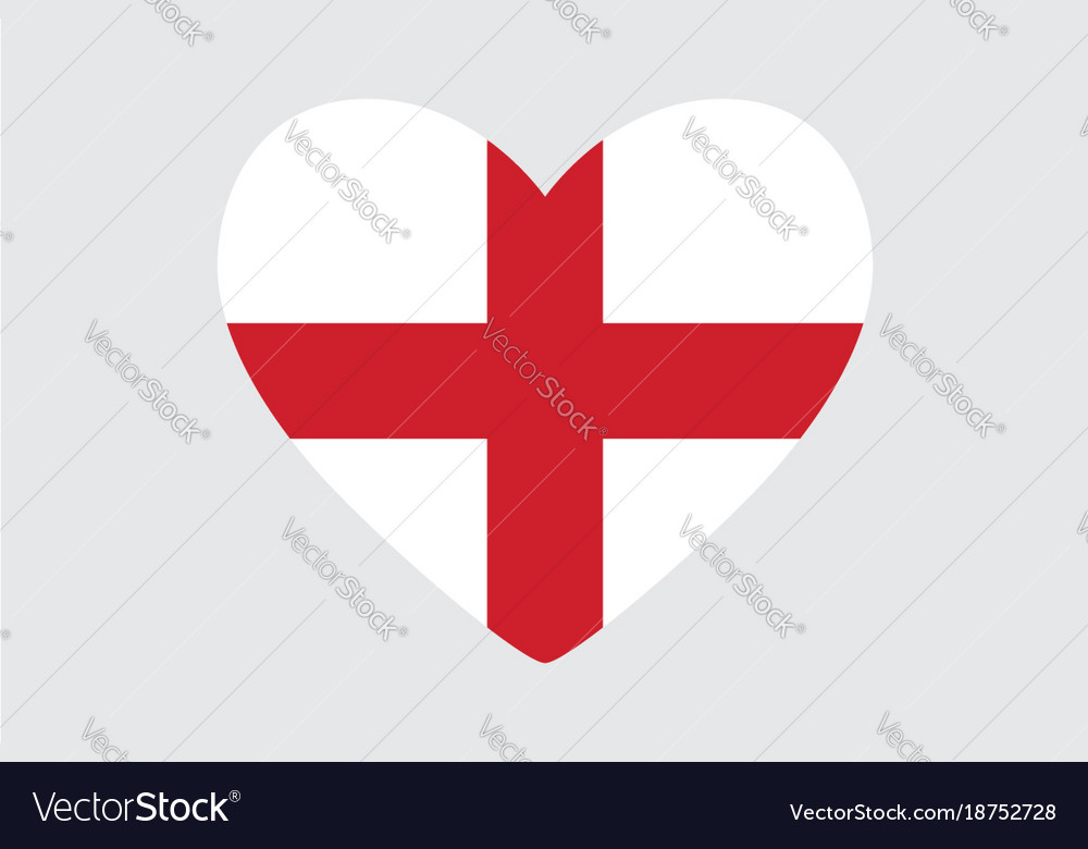 Heart In Colors And Symbols Of The England Flag Vector Image On Vectorstock