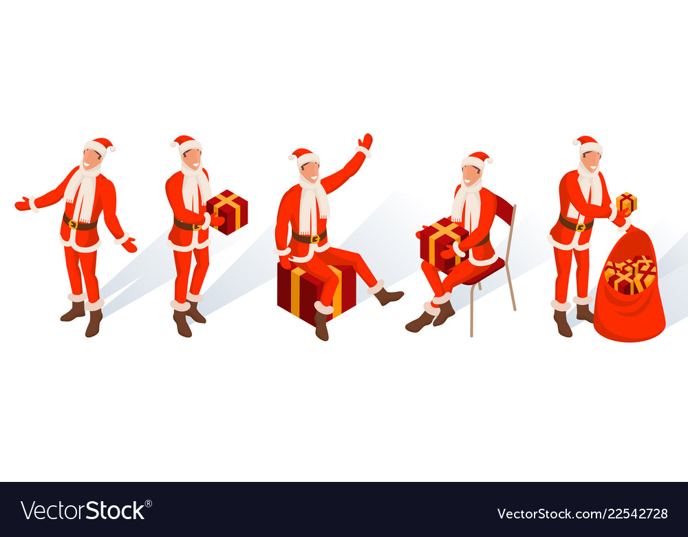 Isometric characters young santa