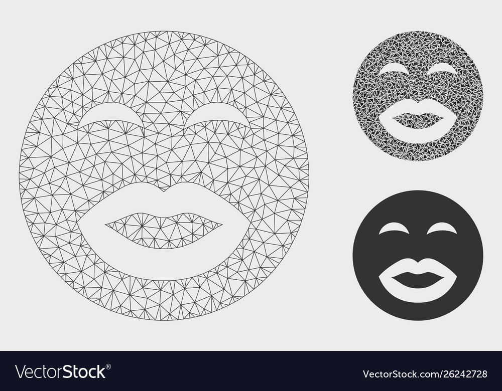Kiss smiley mesh 2d model and triangle vector image