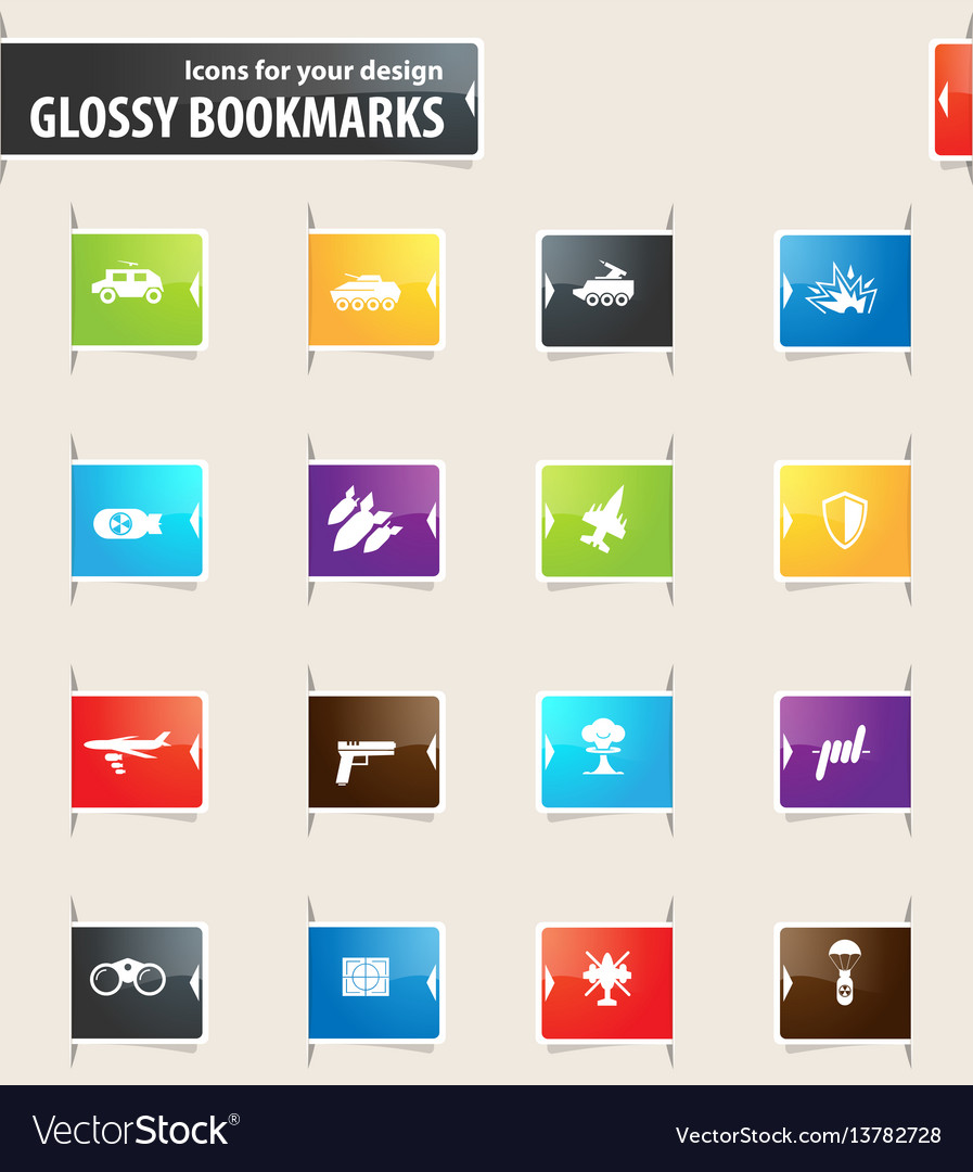 Military and war bookmark icons