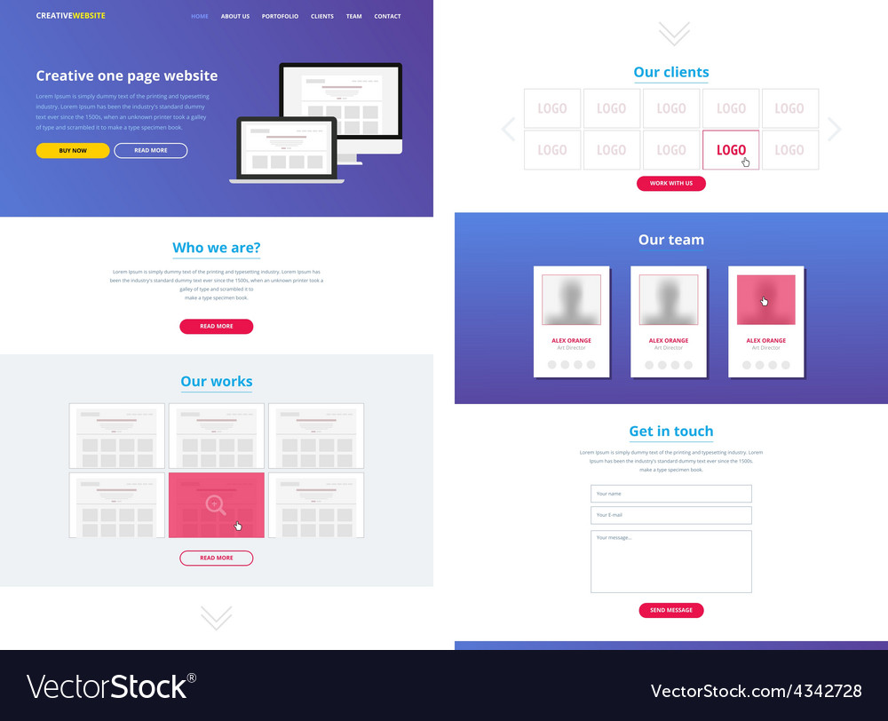 One Page Website Design Template Royalty Free Vector Image